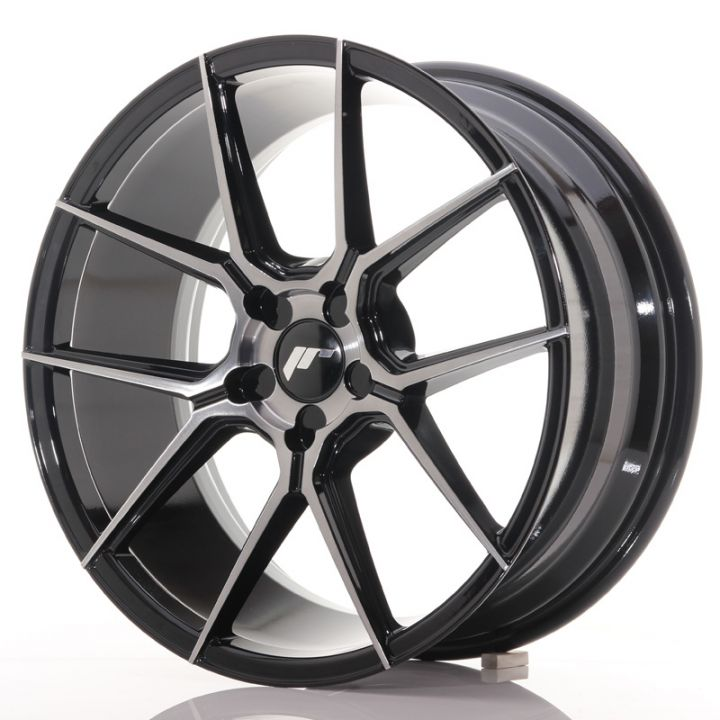 Japan Racing Wheels - JR-30 Glossy Black Brushed Face (19x8.5 inch)