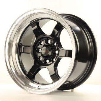 Japan Racing Wheels - JR-12 Glossy Black Polished Lip (15 inch)