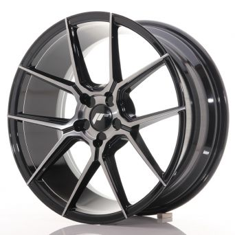 Japan Racing Wheels - JR-30 Glossy Black Brushed Face (18x8.5 inch)