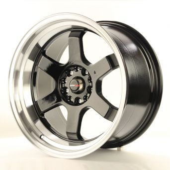 Japan Racing Wheels - JR-12 Glossy Black Polished Lip (18x10 inch)