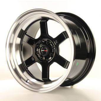 Season Sale - Japan Racing Wheels - JR-12 Glossy Black Polished Lip (16 inch)